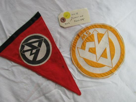 """WWII Pennant 9"""" x 6 1/2"""" and Patch 5 3/4"""" (pair of 2)"""