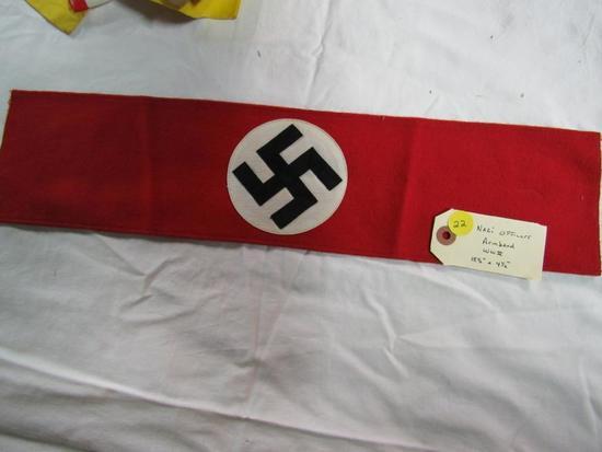 "Nazi Officers Armband WWII 18 1/2"" x 4 1/2"""