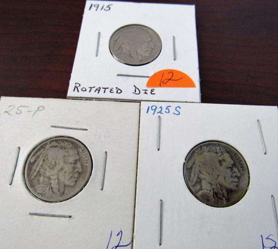 1915, 25, 25-S Buffalo Nickels