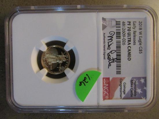 2018 W GOLD EAGLE $5 EARLY RELEASE NGC PF70 ULTRQA CAMEO