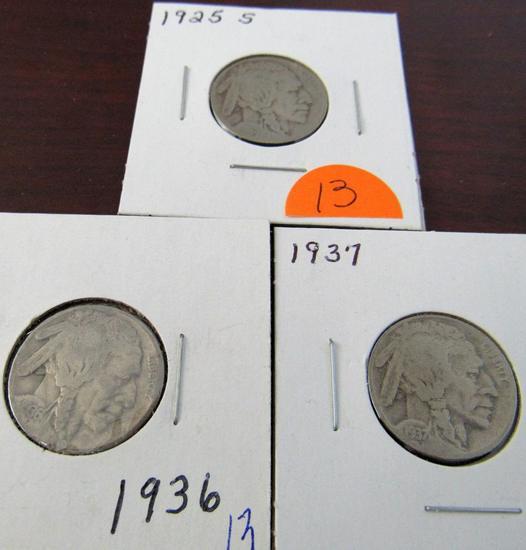 1925-S, 36, 37 Buffalo Nickels