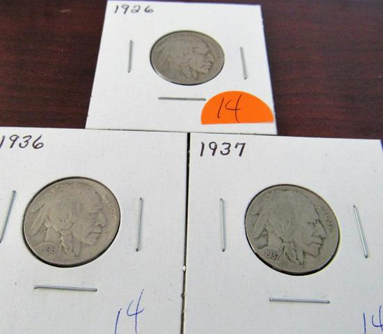 1926, 1936, 1937 Buffalo Nickels