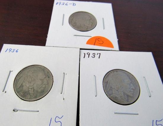 1926-D, 36, 37 Buffalo Nickels