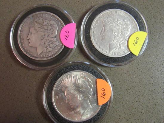 1881S,1921D,1922 SILVER DOLLARS