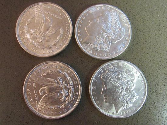 4 1921 UNCIRCULATED SILVER DOLLARS