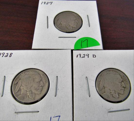 1927, 28, 29-D Buffalo Nickels