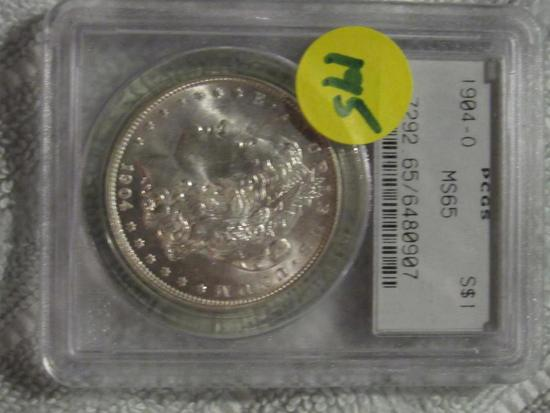 1904 O MORGAN DOLLAR PCGS MS65