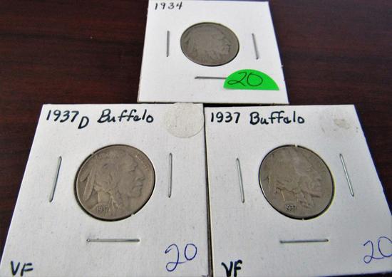 1934, 37, 37-D Buffalo Nickels