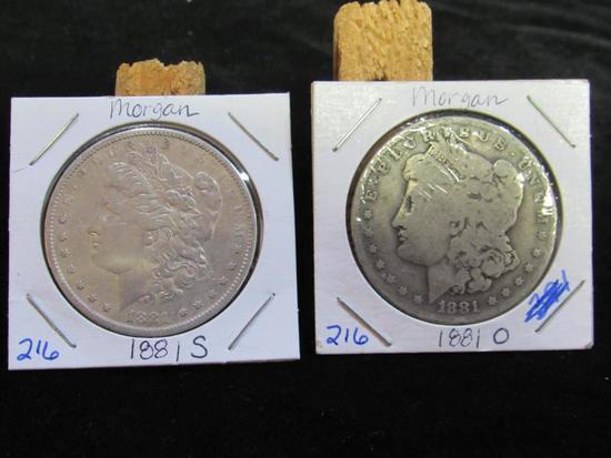 1881S AND 1881 O MORGAN DOLLARS