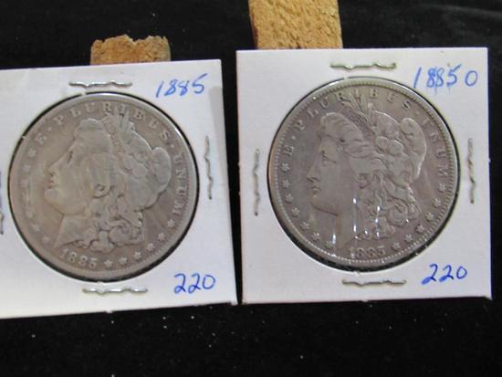 1885 AND 1885 O MORGAN DOLLARS