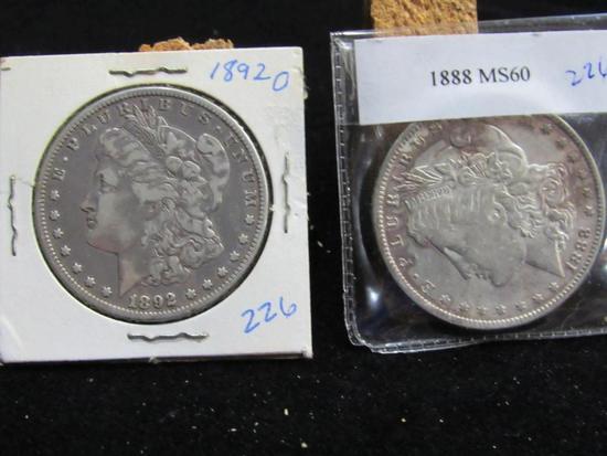 1888 (MS60) AND 1892 O MORGAN DOLLARS