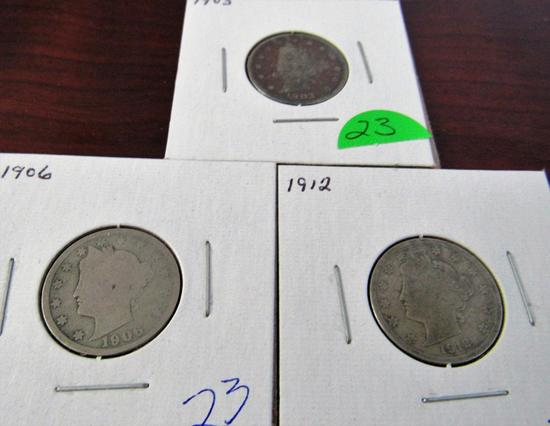 1903, 1906, 1912 Liberty Nickels
