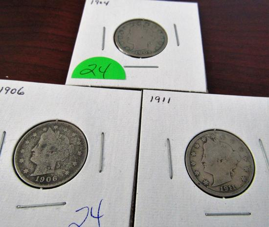 1904, 1906, 1911 Liberty Nickels