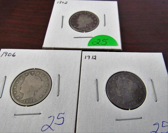 1902, 1906, 1912 Liberty Nickels