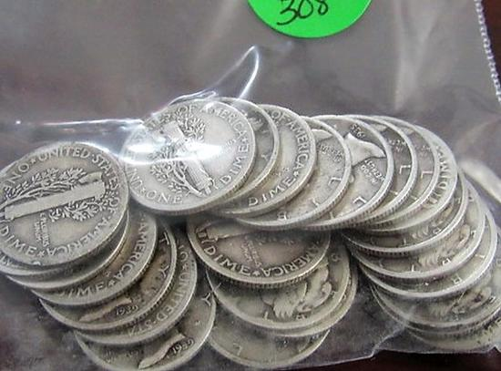 Bag of 25 Mercury Dimes
