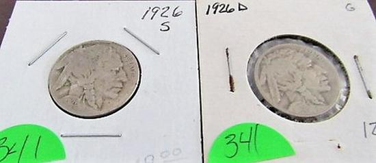 1926-S AND 1926D Buffalo NickelS