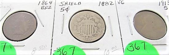 1913-S Lincoln, 1864 Bronze Indian Head Cent, 1882 Shield Nickel
