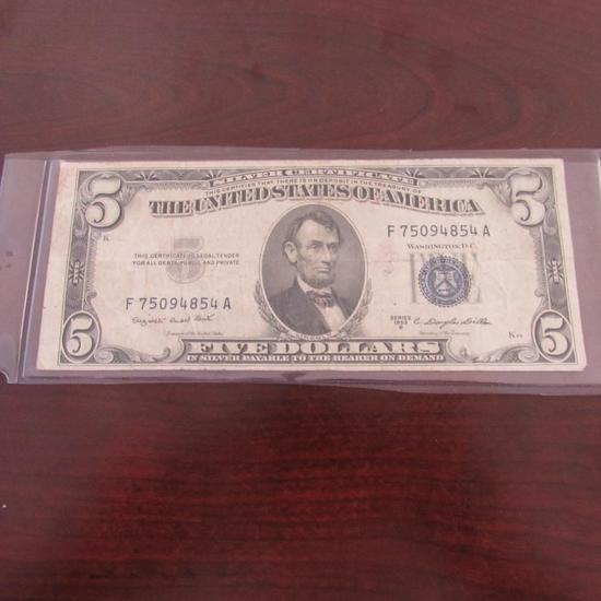 1953 $5.00 Blue Seal Silver Cert.