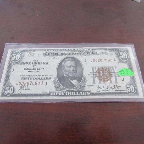 1929 $50.00 National Currency