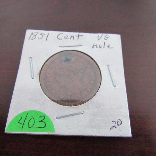 1851 Holed Large Cent