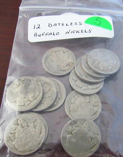 Lot of 12 No Date Buffalo Nickels
