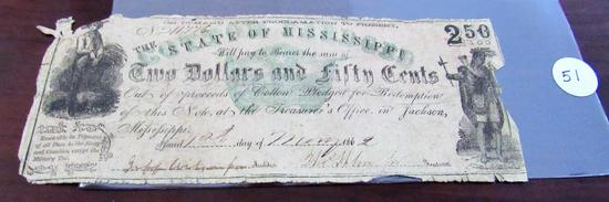 1862 $2.50 Note, State of Mississippi