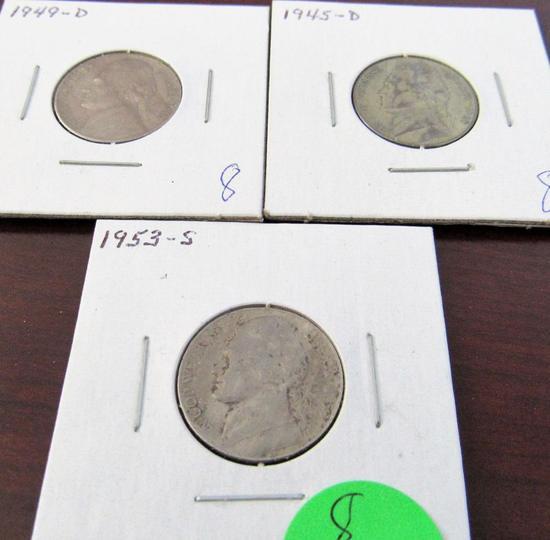 1945-D, 49-D, 53-S Jefferson Nickels