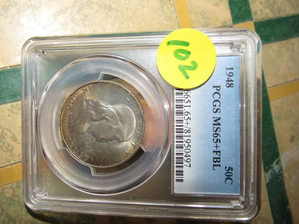 1948 WALKING LIBERTY HALF PCGS MS65PLUSFBL