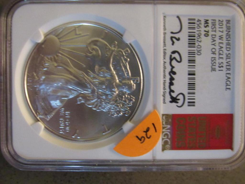 2017 BURNISHED SILVER EAGLE NGC MS 70