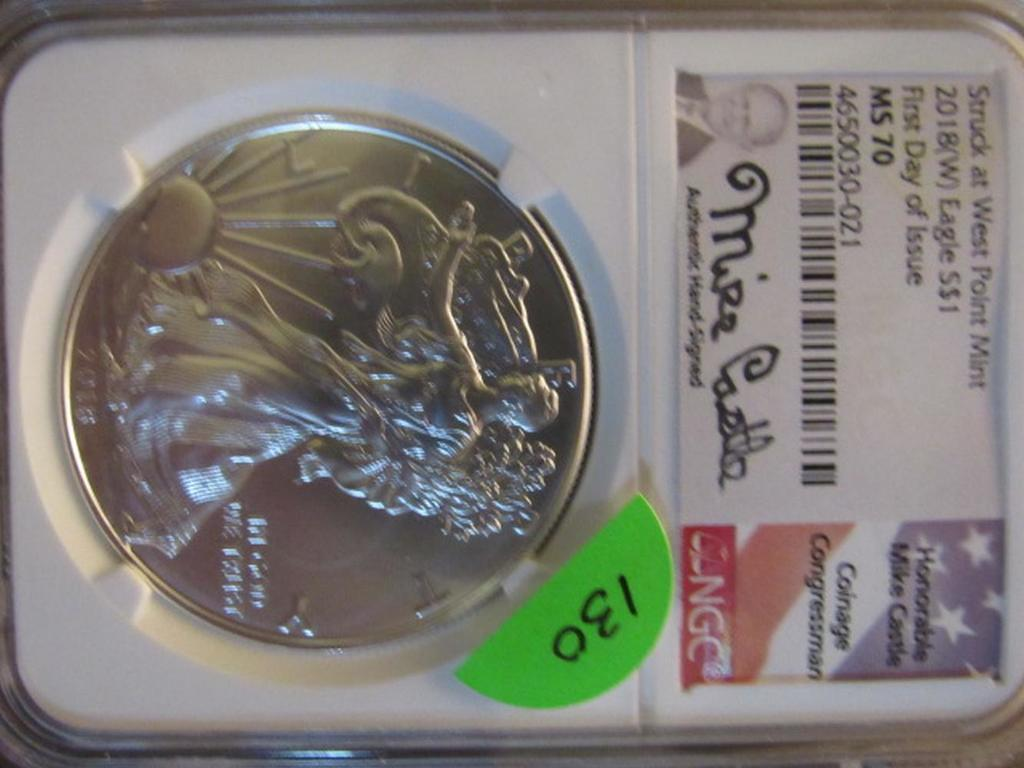 2018 W SILVER EAGLE NGC MS70