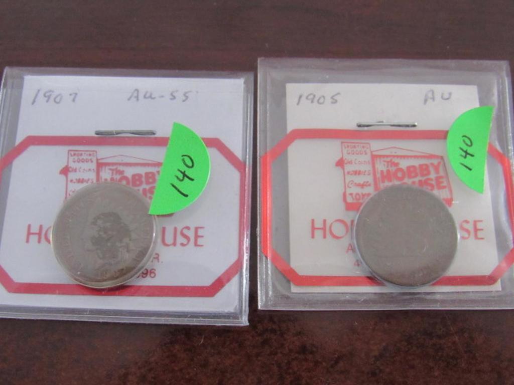 1905 AU, 1907 AU-55 Indian Head Cents