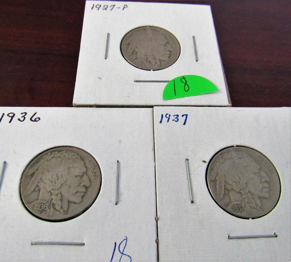 1927, 36, 37 Buffalo Nickels