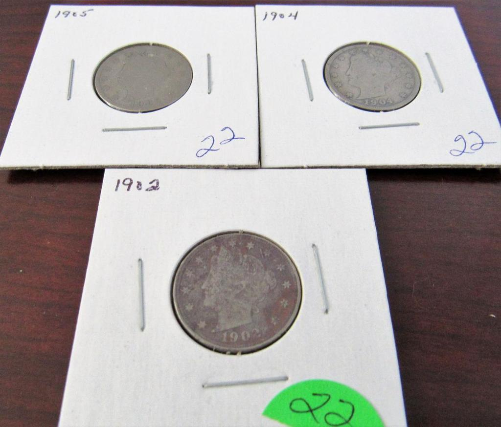 1902, 1904, 1925 Liberty Nickels
