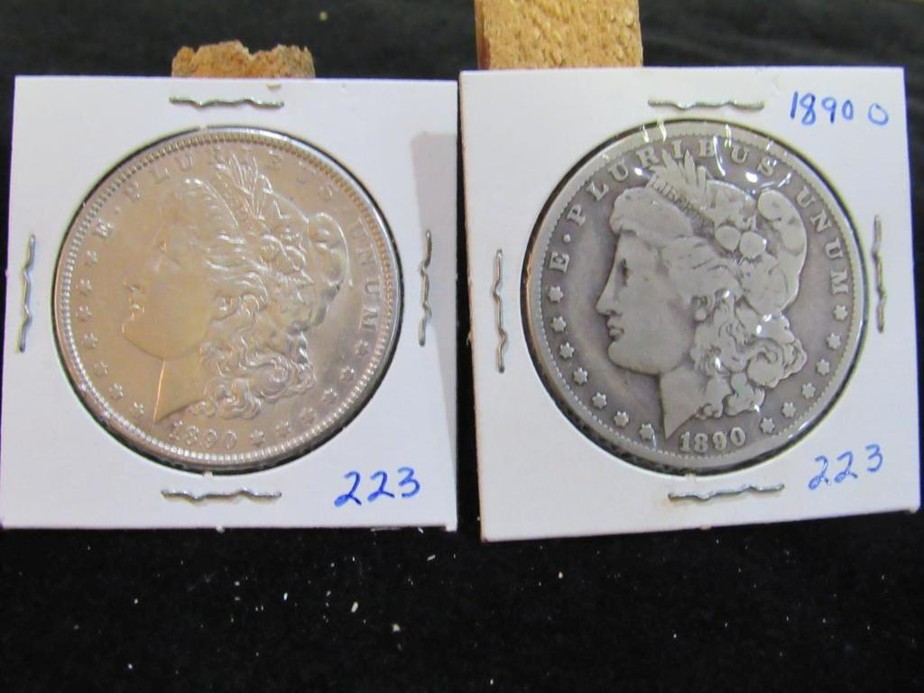 1890 AND 1890 O MORGAN DOLLARS