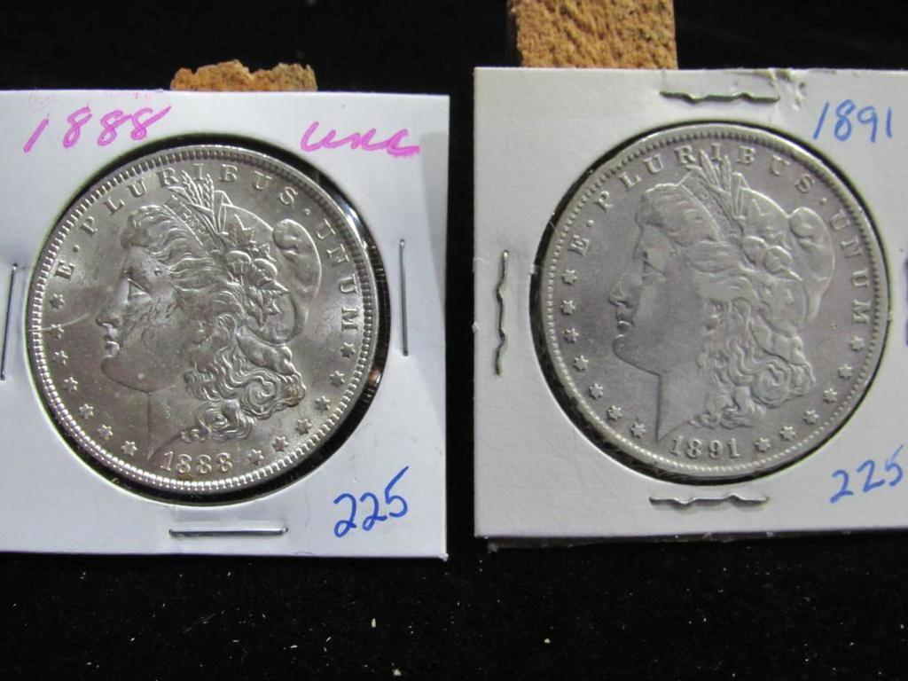 1888 (UNC) AND 1891 MORGAN DOLLARS