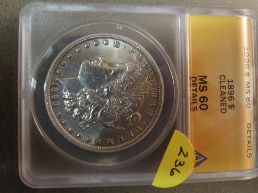 1896S MORGAN DOLLAR ANACS MS 60 CLEANED