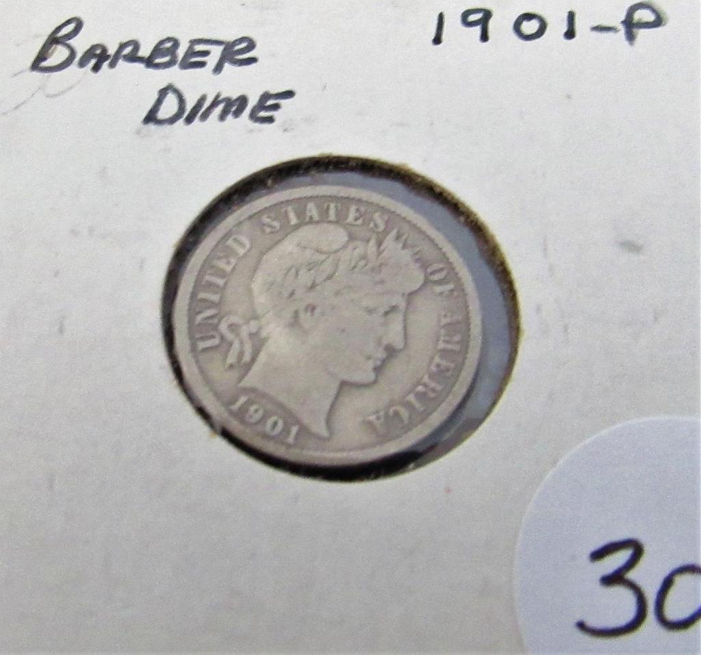 1901-P Barber Dime