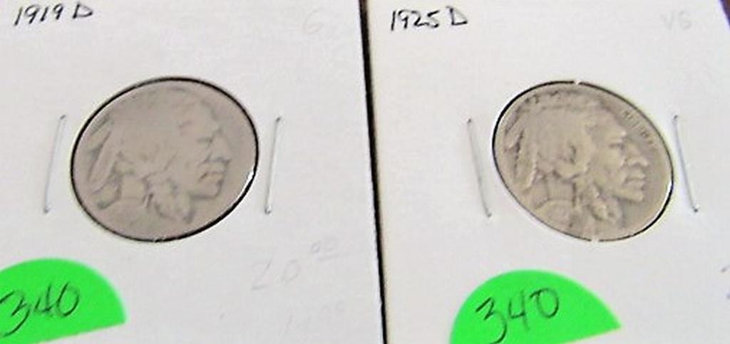 1919-D, 1925-S Buffalo Nickels