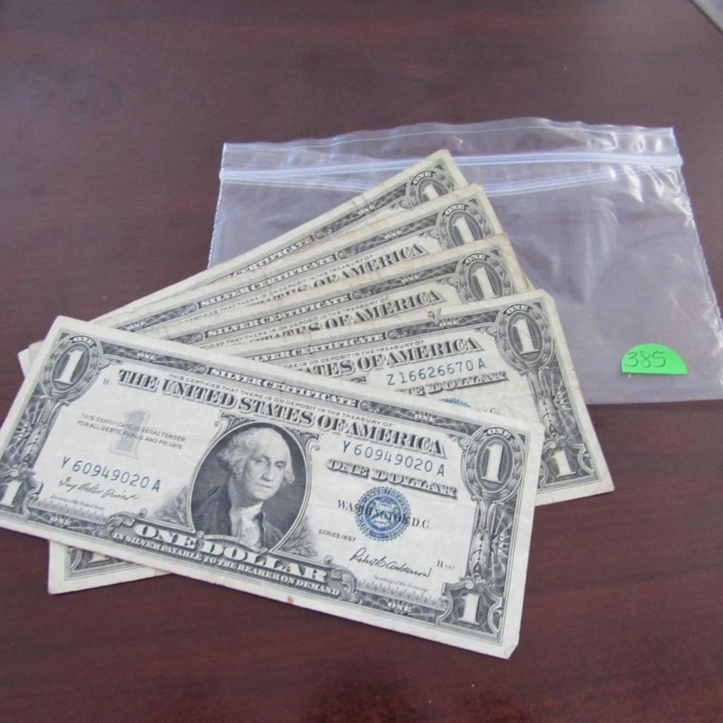 5 1957 $1.00 Silver Certificates