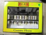 Rail King County House Tan w-Brown Shutters