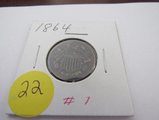 1864 Lg. Motto 2 Cent Piece