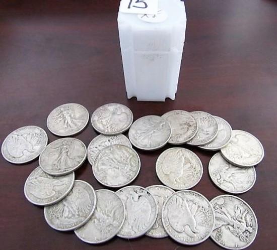 (20) 1940's Walking Liberty Half Dollars