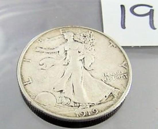 Rare 1919-S Walking Libery Half Dollar