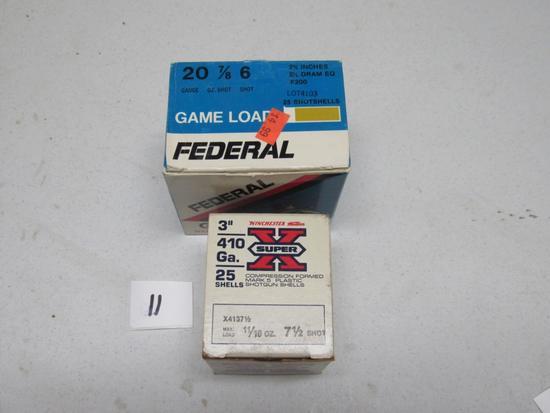 """1 box ea Super X Winchester 3"""" 410 & Federal Game Load 20 ga"""