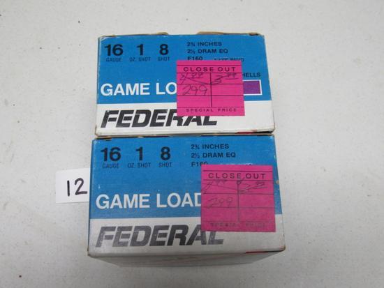 "2 boxes Federal Game Load 16 ga 8 Shot 2 3/4"""