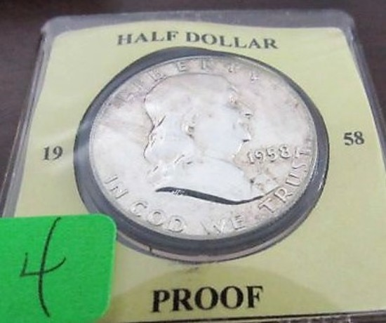 1958 Proof Franklin Half Dollar