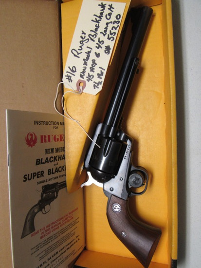 "Ruger New Model Blackhawk Revolver 45 CAL 7.5"" Barrel  SN: 46-55230  Two Cylinders 45ACP, 45 Long Co"