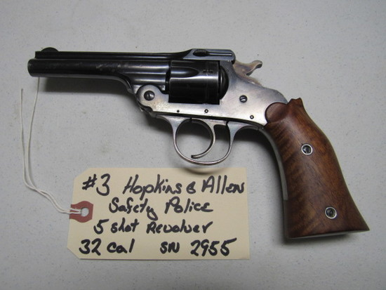 Hopkins and Allen Safety Police 5 Shot Revolver 32 CAL SN: 2955