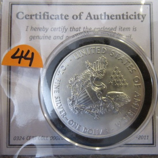 2011 United States of America 1oz Fine Silver One Dollar
