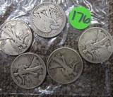 (5) Half Dollars